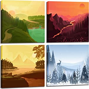 CGXART Nature Wall-Art - National Park Posters Four Seasons Landscape Pictures for Living Room Decoration - Mountain Print Office Decor Canvas Wall Art for Bedroom 14x14 Inches 4Pieces Framed Artwork