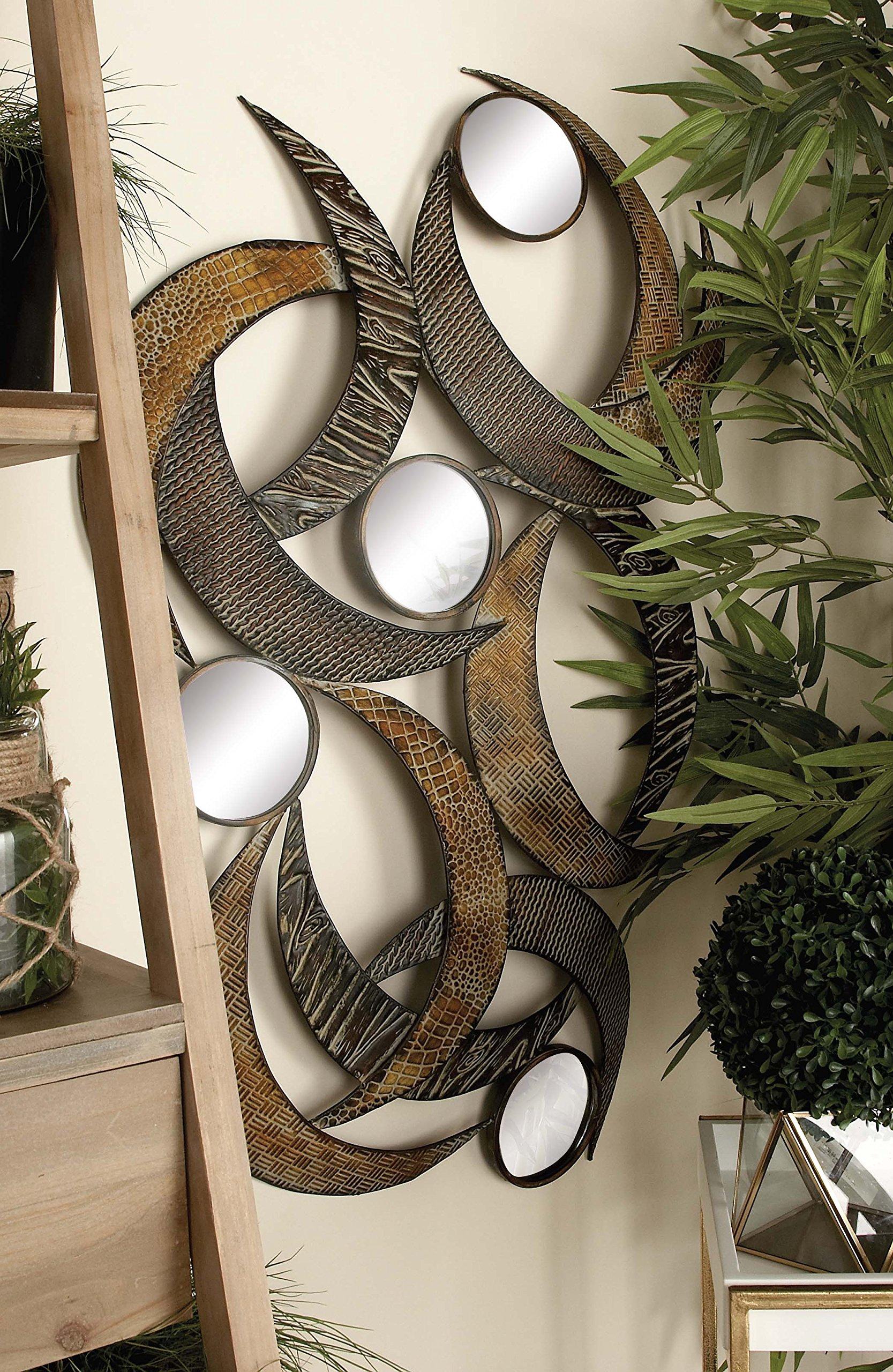 Deco 79 96663 Metal Mirror Wall Plaque Beautifully Sculptured, 24-Inch