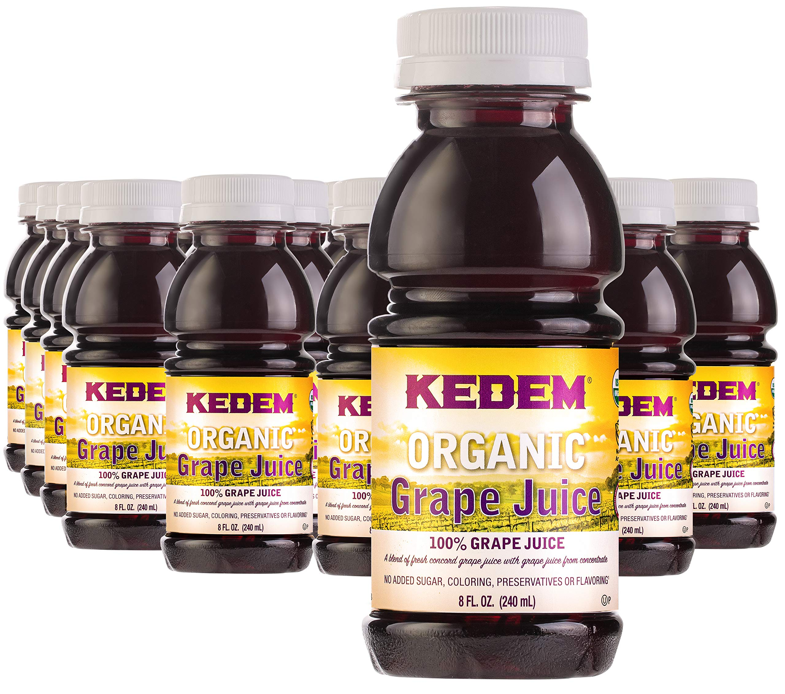 Kedem Organic Grape Juice 8oz (24 Pack) Made with Concord Grapes. No Sugar, Coloring, Flavoring or Preservatives Added