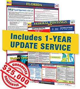 Florida State & Federal Labor Law Posters with 1 Yr E Update Service