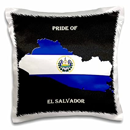 3dRose pc_210451_1 Flag of El Salvador on Map Pillow Case, 16
