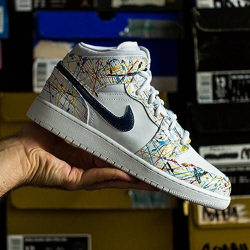 160551ed83ae93 Image Unavailable. Image not available for. Color  Nike Air Jordan 1 Custom  Mens  Pollocks  Splatter ...