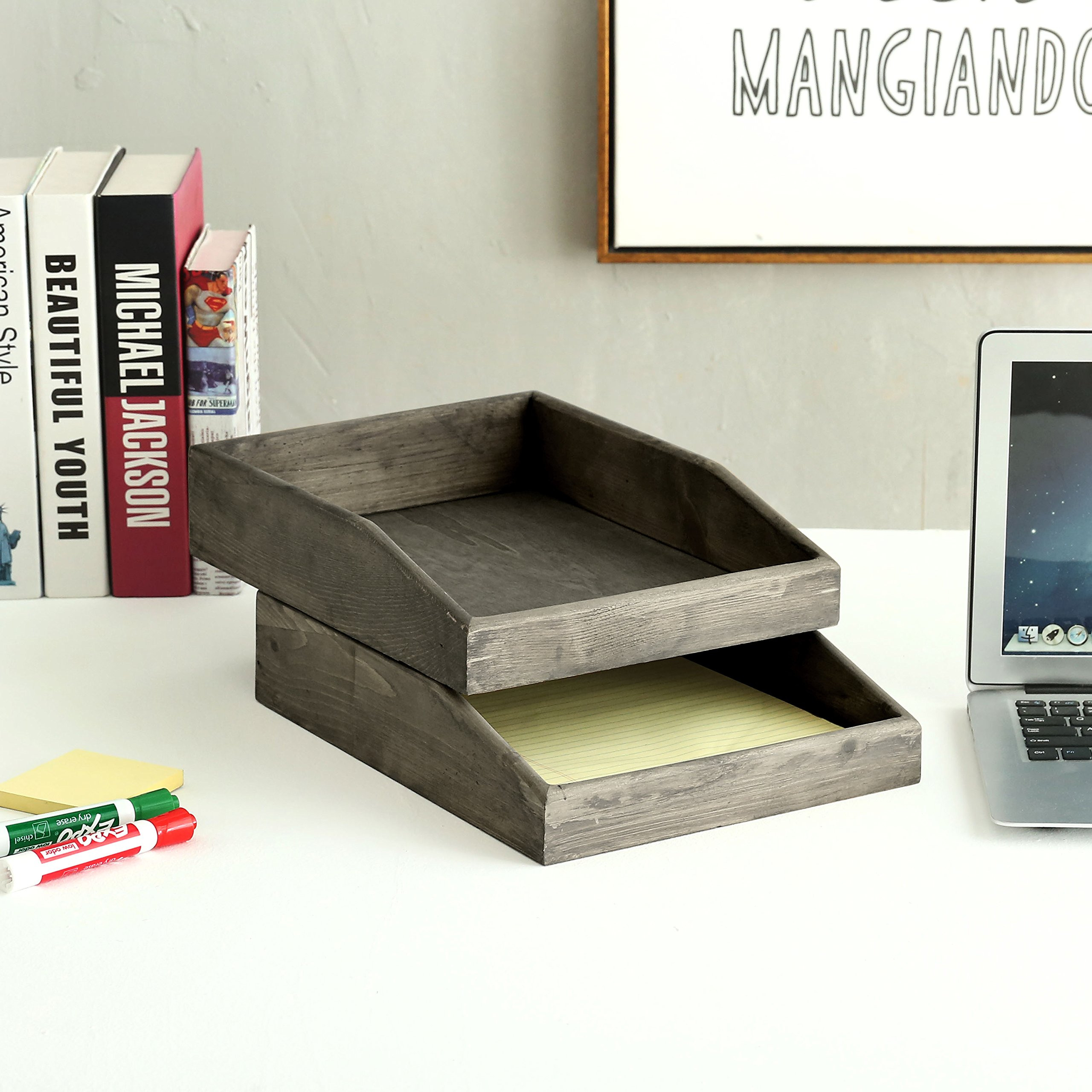 Set of 2 Barnwood Gray Wooden Stackable Document & Paper Trays by MyGift (Image #3)