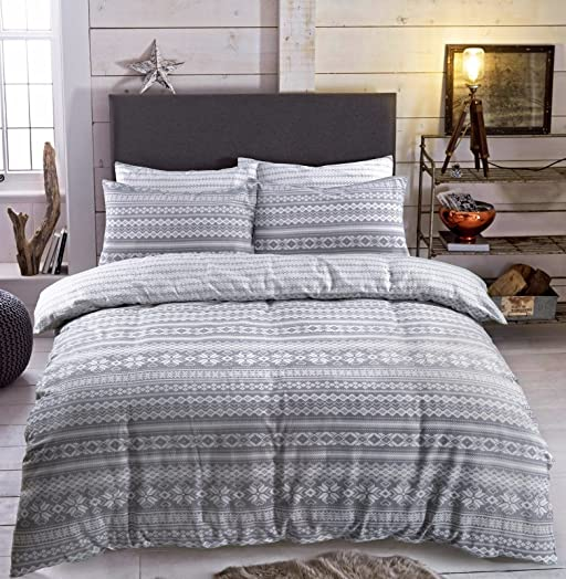 Flannelette duvet cover set with pillowcase printed new soft warm ...