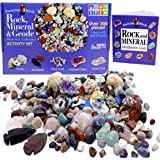 Dancing Bear Rock & Mineral Collection Activity Kit (200+Pcs) with Geodes, Shark Teeth Fossils, Arrowheads, Crystals, Gemston