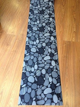 tappeto cucina 50 x 300 nero grigio sassi pietre ciottoli moderno ... - Tappeto Cucina Moderno
