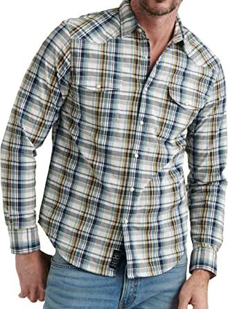Lucky Brand Men's Long Sleeve Button Up Santa Fe Western Shirt with Two Front Pockets
