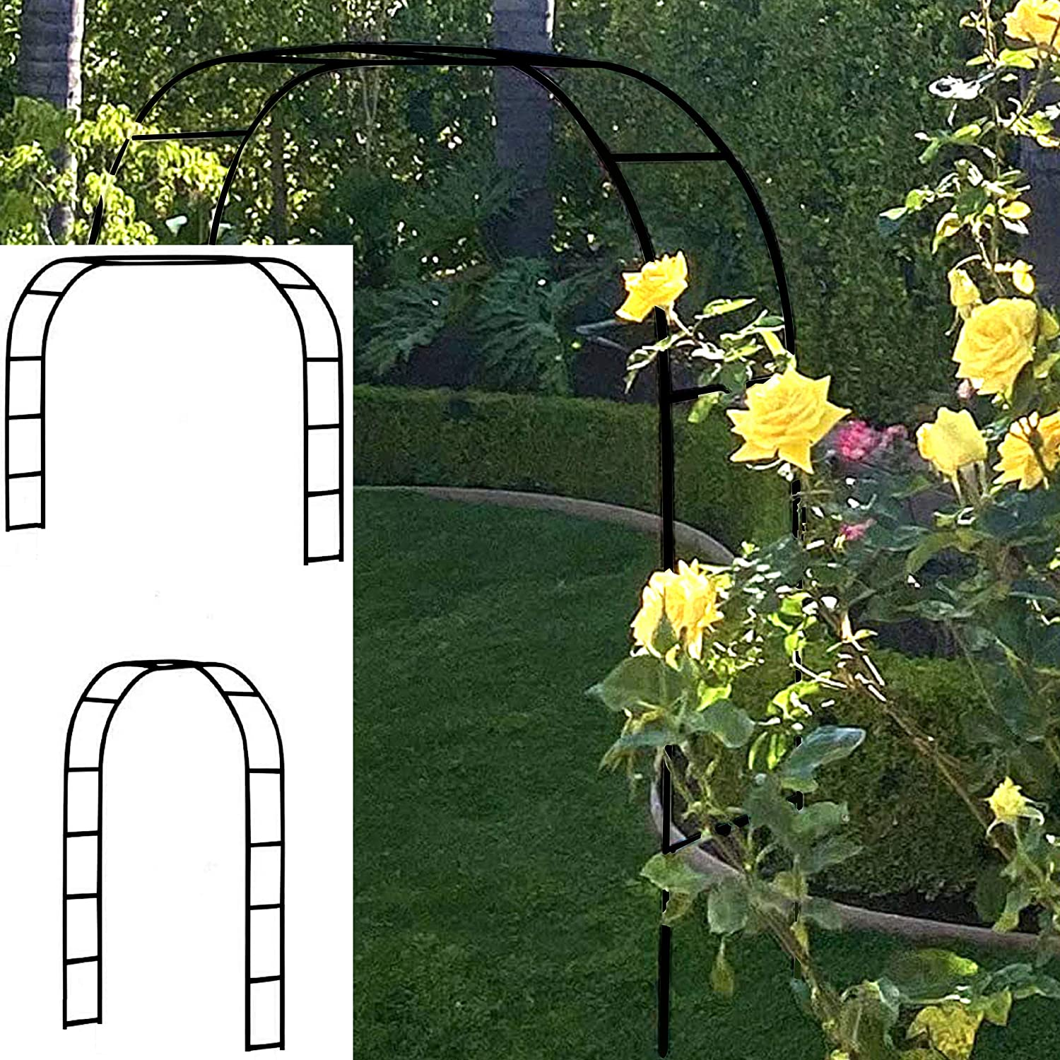 "Tytroy Metal Outdoor & Indoor 7'10"" Arch Arbor for Wedding Bridal Party Elegant Decorations & Garden Climbing Plants (Black 1 pc)"