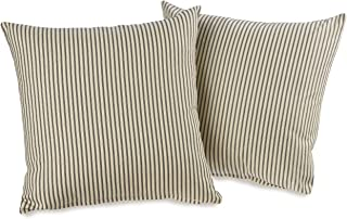 product image for Victor Mill Ticking Stripe Black Decorative Throw Pillows (Set of 2)