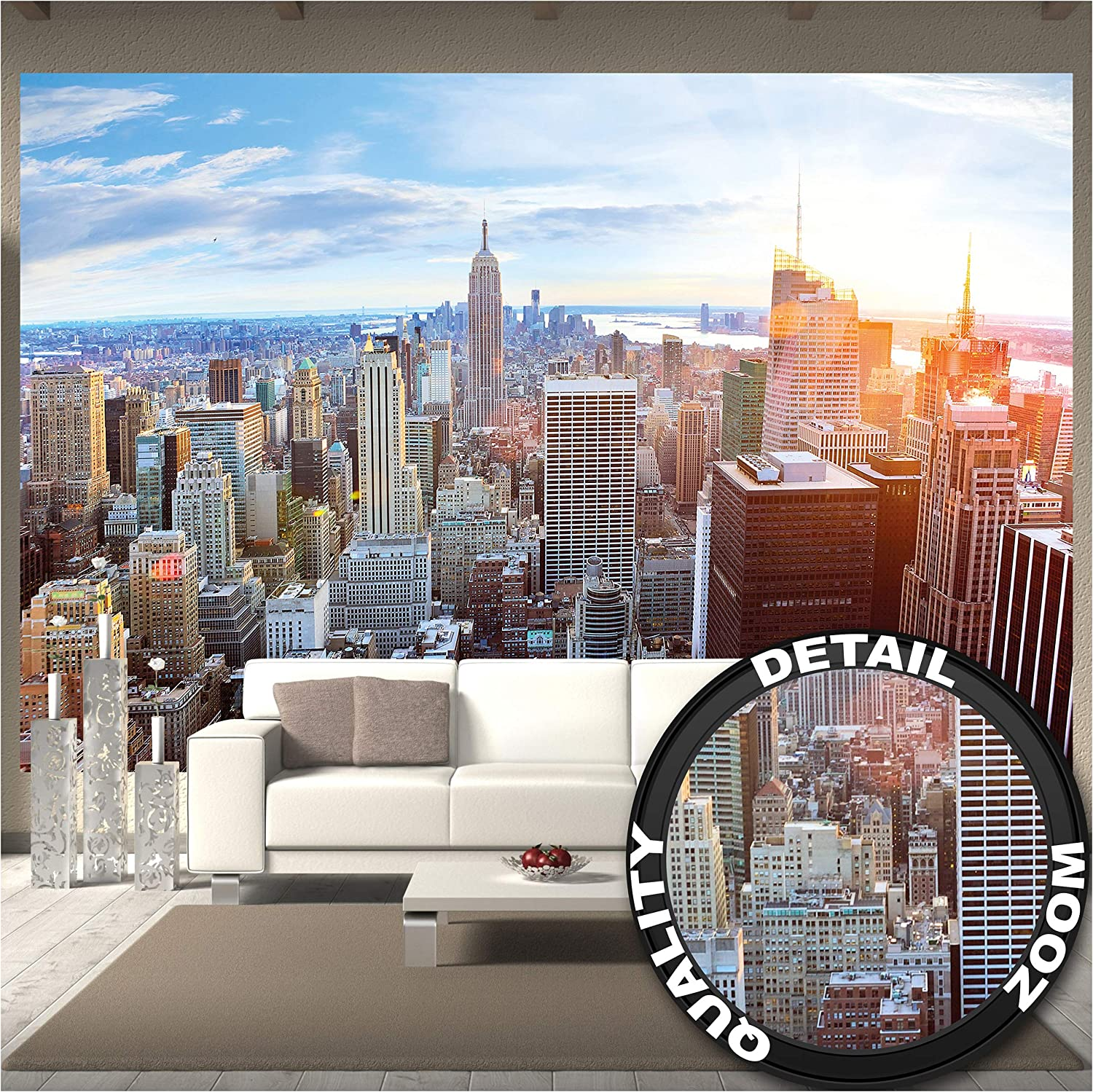 3D WINDOW VIEW PANORAMA Wall Mural Photo Wallpaper  CITY SCAPE Urban street