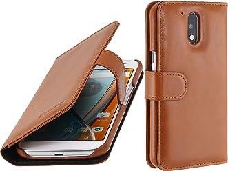 StilGut - Custodia per Motorola Moto G4 & G4 Plus Plus Talis in Pelle con Tasca per Carte, Cognac