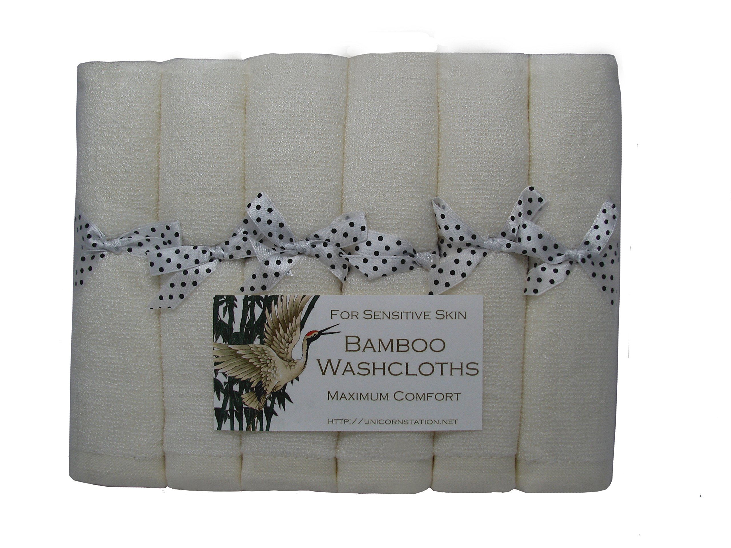 Unicorn Station Bamboo Washcloths for Ultra-Sensitive Skin. Maximizes skin care comfort.Thoughtful gift for cancer patients. White