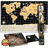 Scratch Off World Map Poster + Ebook + Scratcher + Wiping cloth, With Country Flags, for Travel, Education, and Fun – Perfect To Travelers and Children, Large Size 24 x 17 inches by Mr. Columbus