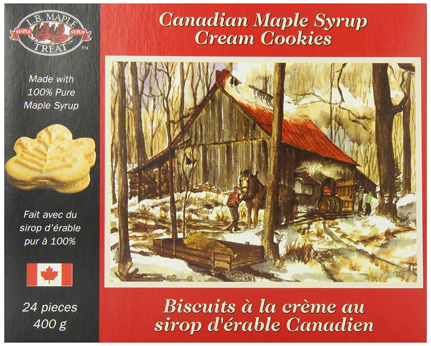Lb Canadian Maple Leaf Sugar Cream Creme Snack Cookies Candy Treat 400grams 14 Ounce