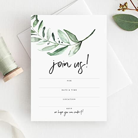 DIY Invitations Green Paper for Weddings /& Other Events 10 Sheets of Text Paper