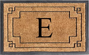 "A1 HOME COLLECTIONS A1HOME200128-E A1HC-Designer Hand-Crafted Rubber & Coir Frame Molded Double Door Mat, Perfect and More Functional Size 24""X36"" Monogrammed, E"