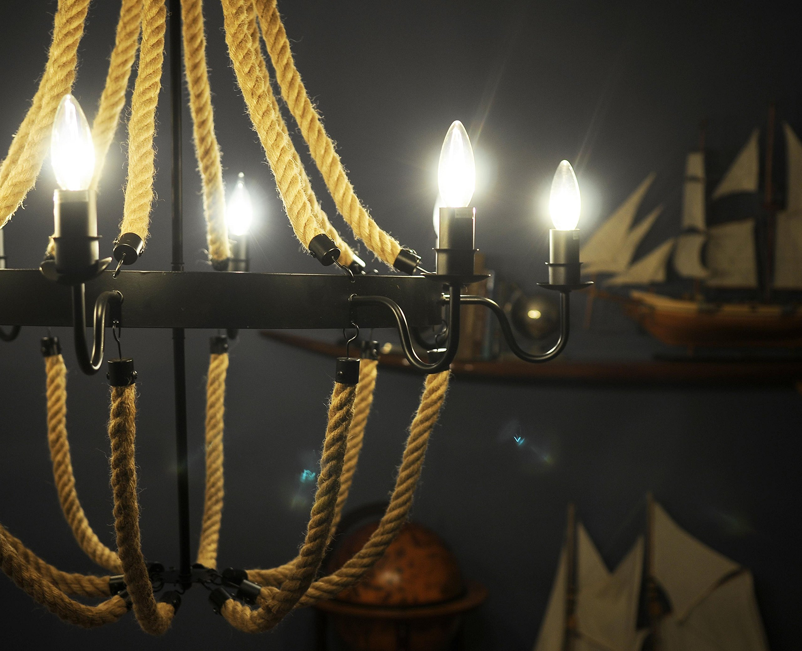 Old Modern Handicrafts Rope Pendant Lamp with 8 Bulbs, Large by Old Modern Handicrafts