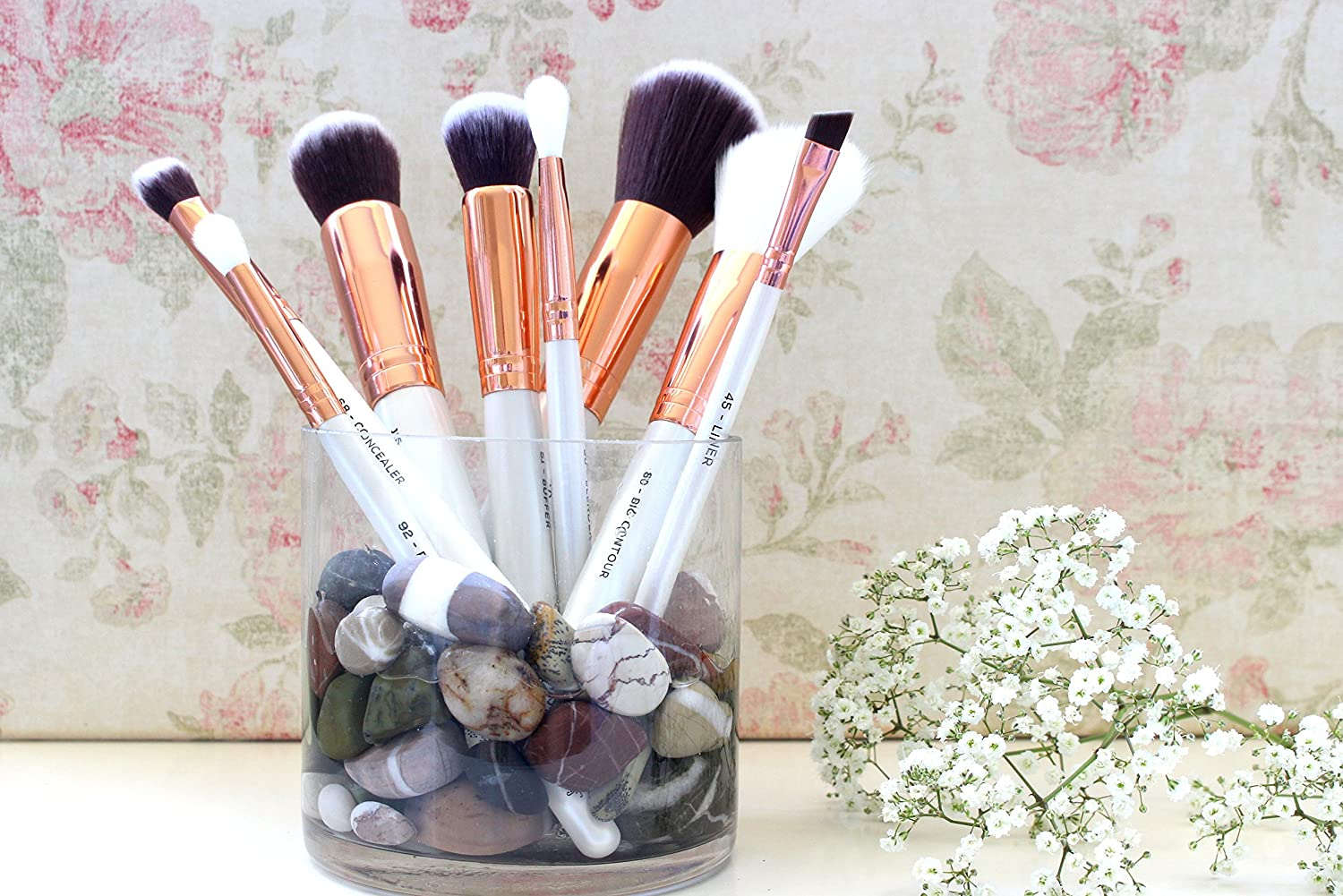 rose gold and white makeup brushes. beauty widgets professional luxury 8 piece makeup brush set with fantastic soft synthetic bristles rose gold ferrules white handles plus bag pink and brushes