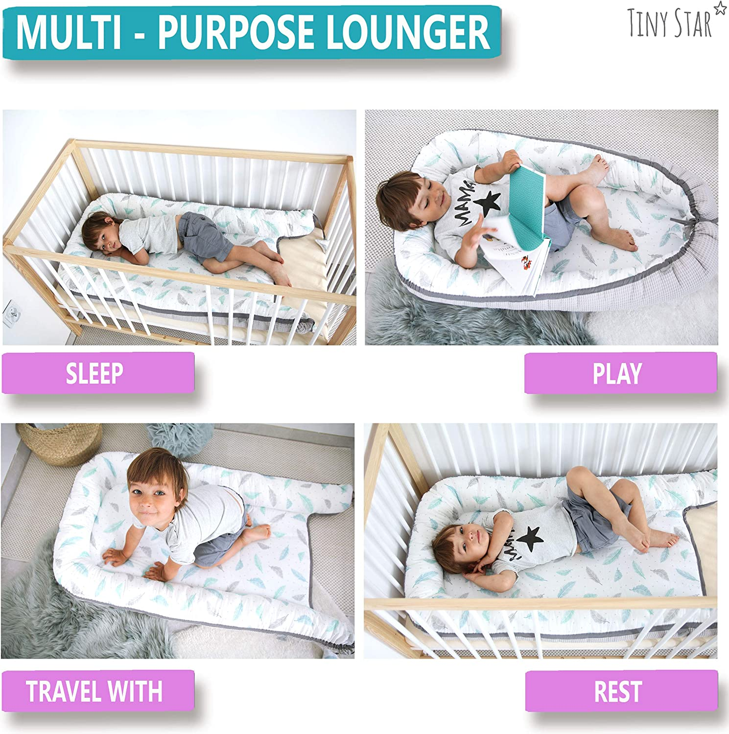 Breathable and Lightweight Large Lounger and Resting Station Toddlers Sleep Nest Bed Reducer Fully Washable XL TINY STAR: Baby Nest Pod 6 Minty Puffs 36 Months
