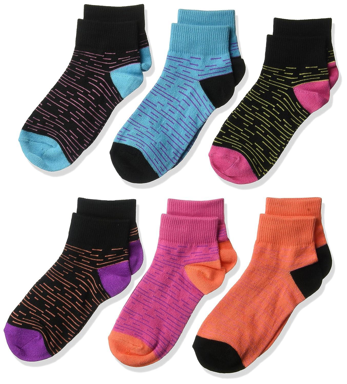 Fruit of the Loom Big Girl's 6 Pack Melange Flat Knit Ankle Socks C7602A6-C
