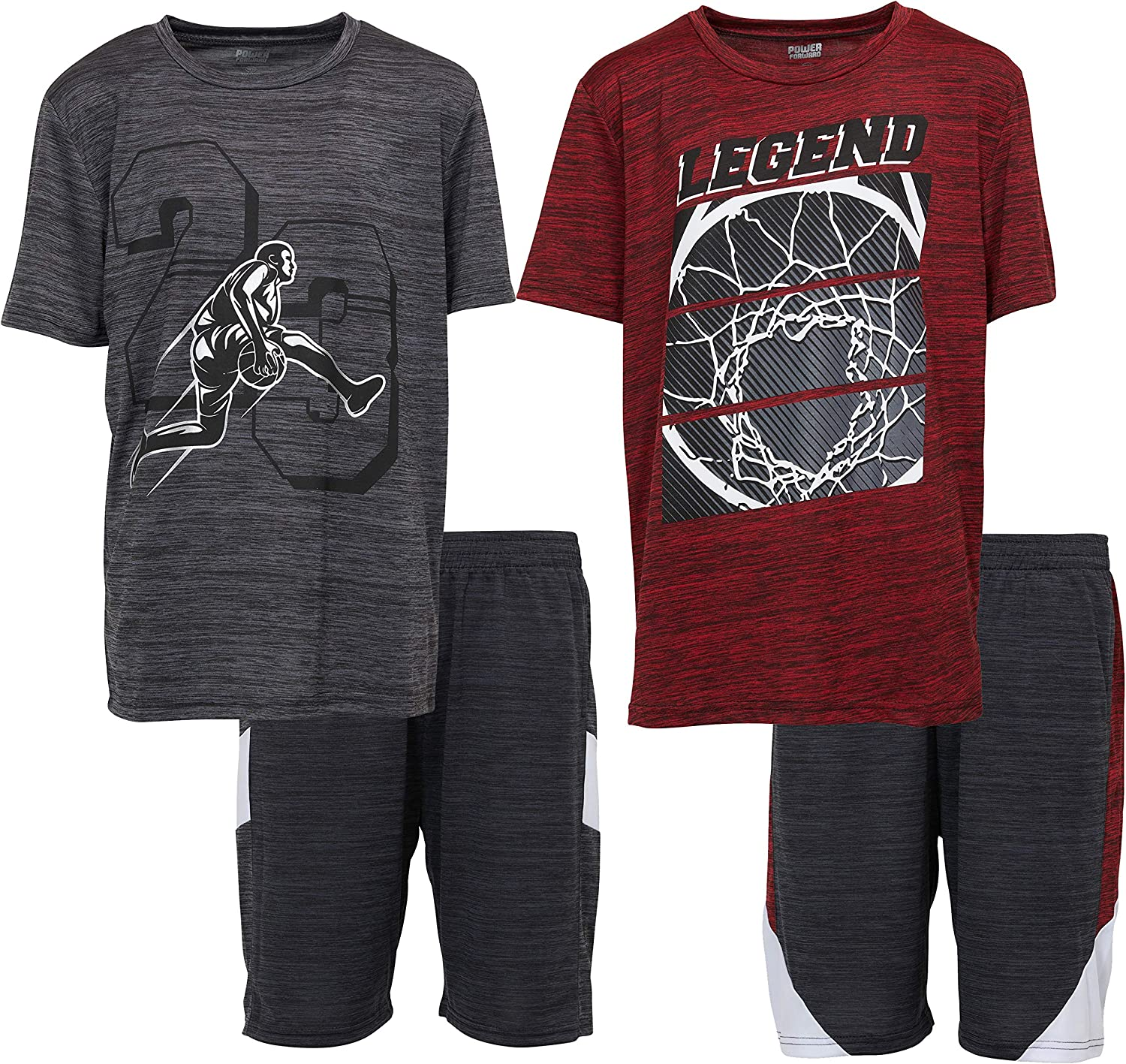 Boys Youth Athletic Active Performance Sports 4 Piece Graphic T-Shirt...