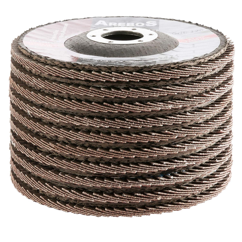 geeignet f/ür Holz und Metall 10 St/ück Arebos F/ächerscheibe///Ø 125 mm//Korn 120