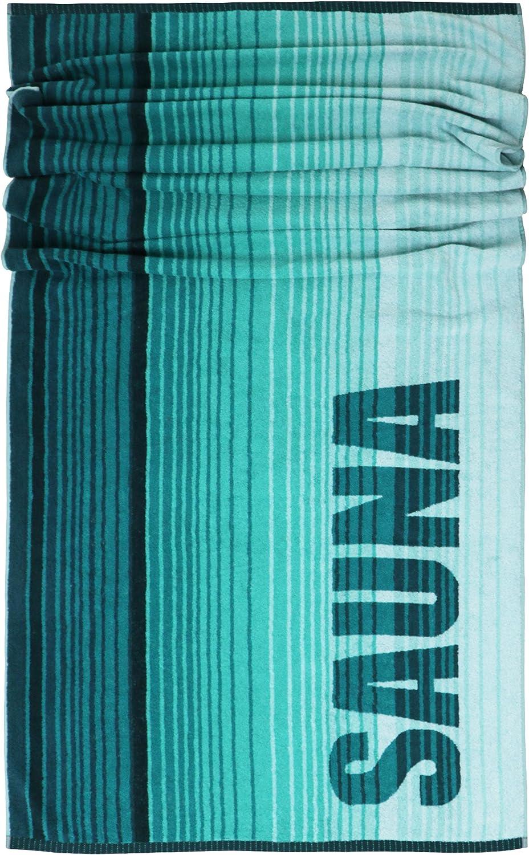 Braun Strandtuch Badetuch 85 x 200 cm Beige Lashuma Saunatuch Oslo Gestreift XXL Liegetuch mit Sauna Aufschrift