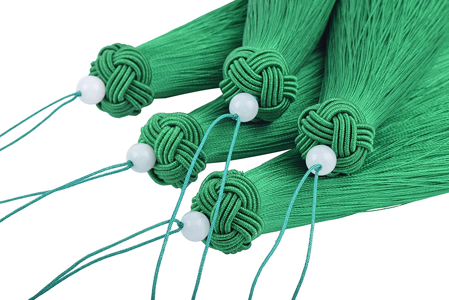 KONMAY 2pcs 6.4''(16.0cm) Large and Long Handmade Imitation Silk Tassels with Threaded Cap and Jade Beads (Chocolate)