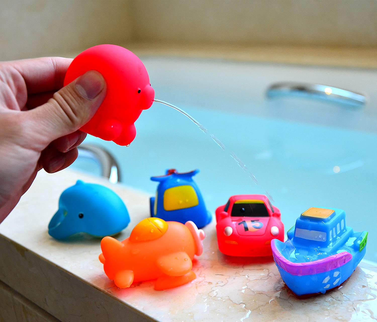 Amazon.com: Joyin Toy 12 Pack 3.5\'\' Squirt Squeaker Bath Toys with ...