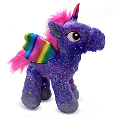 LittleFoot Nation Bright & Shiny 13'' Big Plush Sparkle Standing Unicorn Toy, Soft Rainbow Pegasus Alicorn Stuffed Animal with Wings for Kids (Purple): Toys & Games