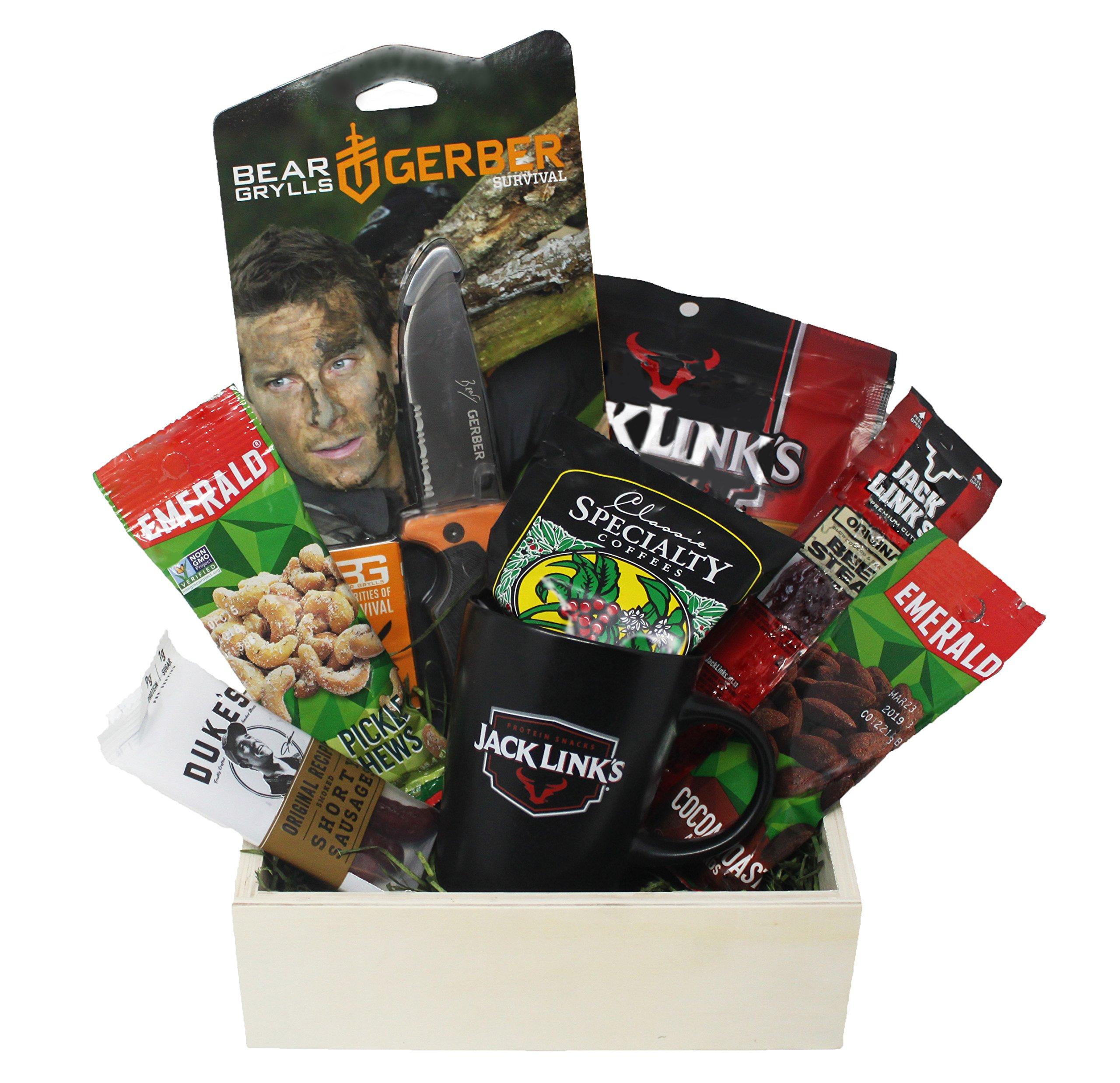 Gerber Folding Knife Protein Snack Basket for Men | Gifts for the Outdoorsman