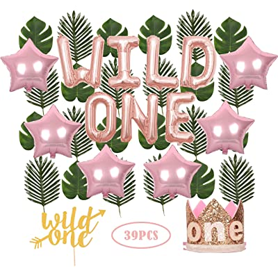 "Wild One Birthday Decorations | First Birthday Party Supplies | 1st Baby Girl Birthday Party Hat Pink Crown with Pink Hair Band | 24 PCS Artificial Palm Leaves | 16"" 'Wild One' Balloon 