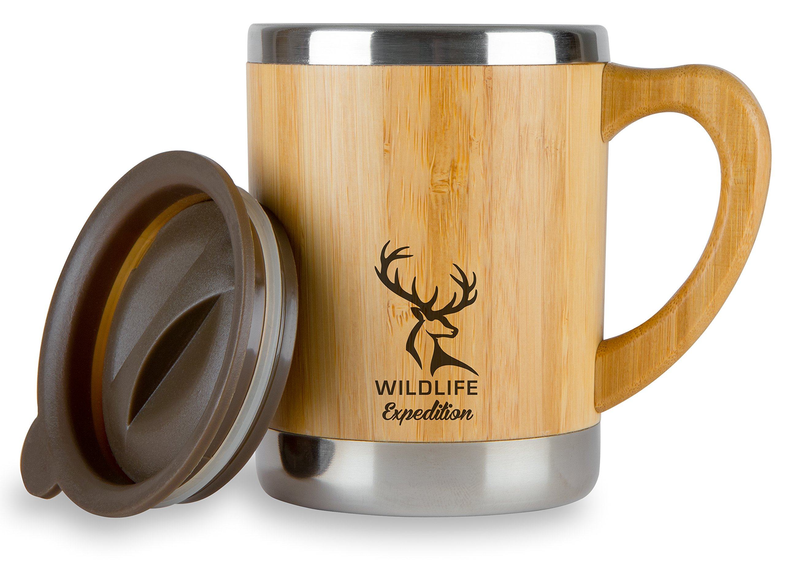 Wildlife Expedition Insulated 11oz Coffee Mug - Stainless Steel & Bamboo Cup with Handle & Lid - Non-Spill On the Go - Keep Your Tea Hot Longer - Unique Gift for Men & Women by Wildlife Expedition (Image #1)