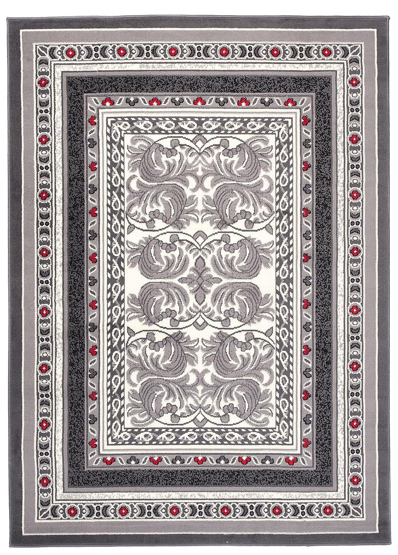 Tapiso Designer Teppich Wohnzimmer Teppich SCHÖN Muster IN ROT GRAU Hellgrau (250x350 cm)