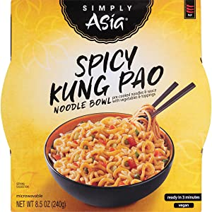 Simply Asia Spicy Kung Pao Noodle Bowl, Microwavable Meals, 8.5 oz (Pack of 6)