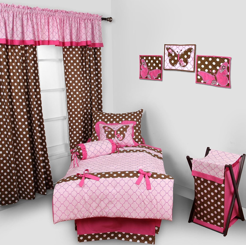 Bacati Butterflies/Ladybug Pink/Chocolate 4 Pc Toddler Bedding Set