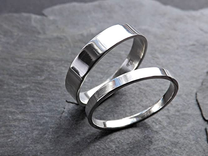 Inexpensive Wedding Rings.Amazon Com Flat Silver Ring Set Slim And Simple Matching Wedding