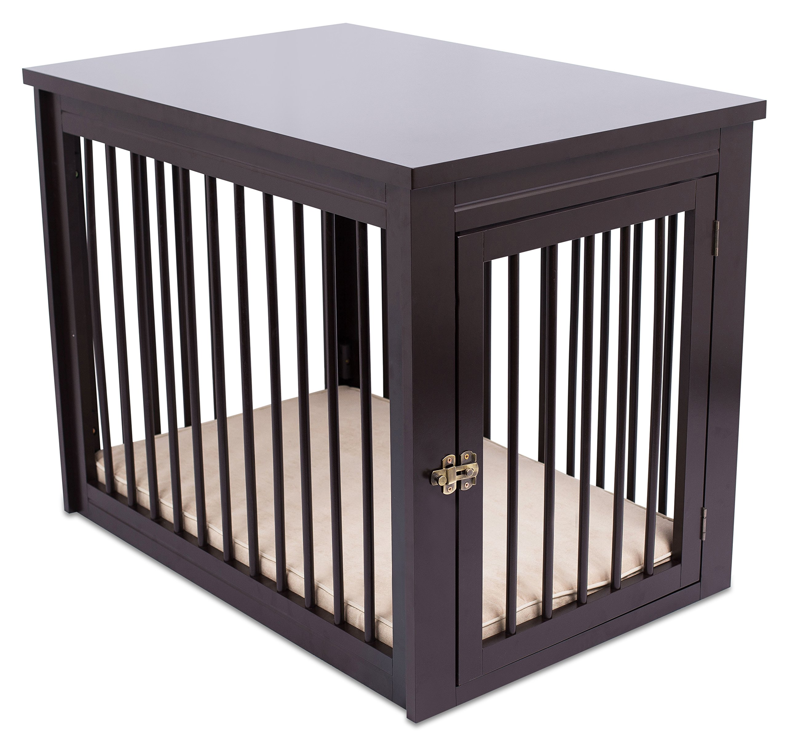 Internet's Best Decorative Dog Kennel with Pet Bed - Wooden Dog House - Large Indoor Pet Crate Side Table - Espresso by Internet's Best