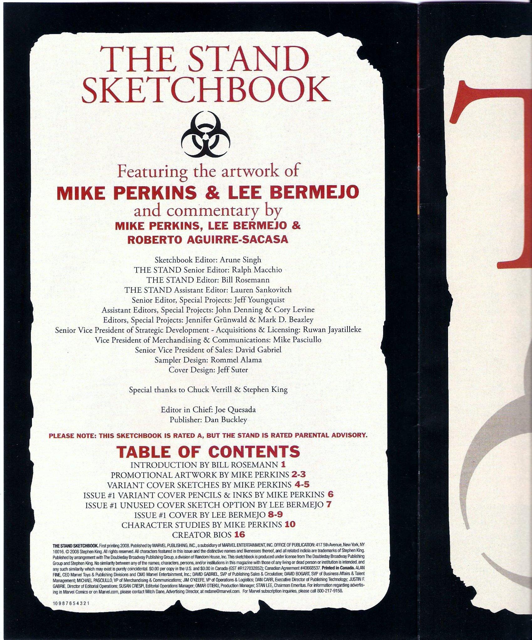 Amazon: Stephen King's The Stand Sketchbook #1 (marvelics): Arune  Singh, Mike Perkins, Lee Bermejo: Books