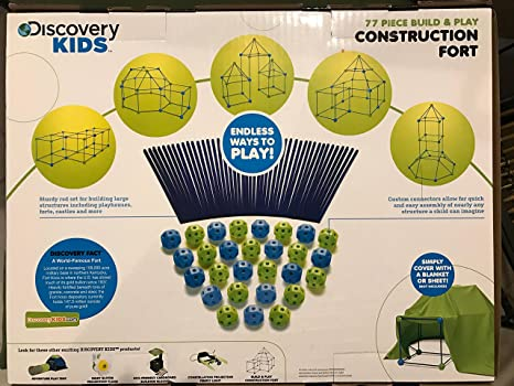 Amazon Discovery Kids Building Tent 77 Piece Construction Fort