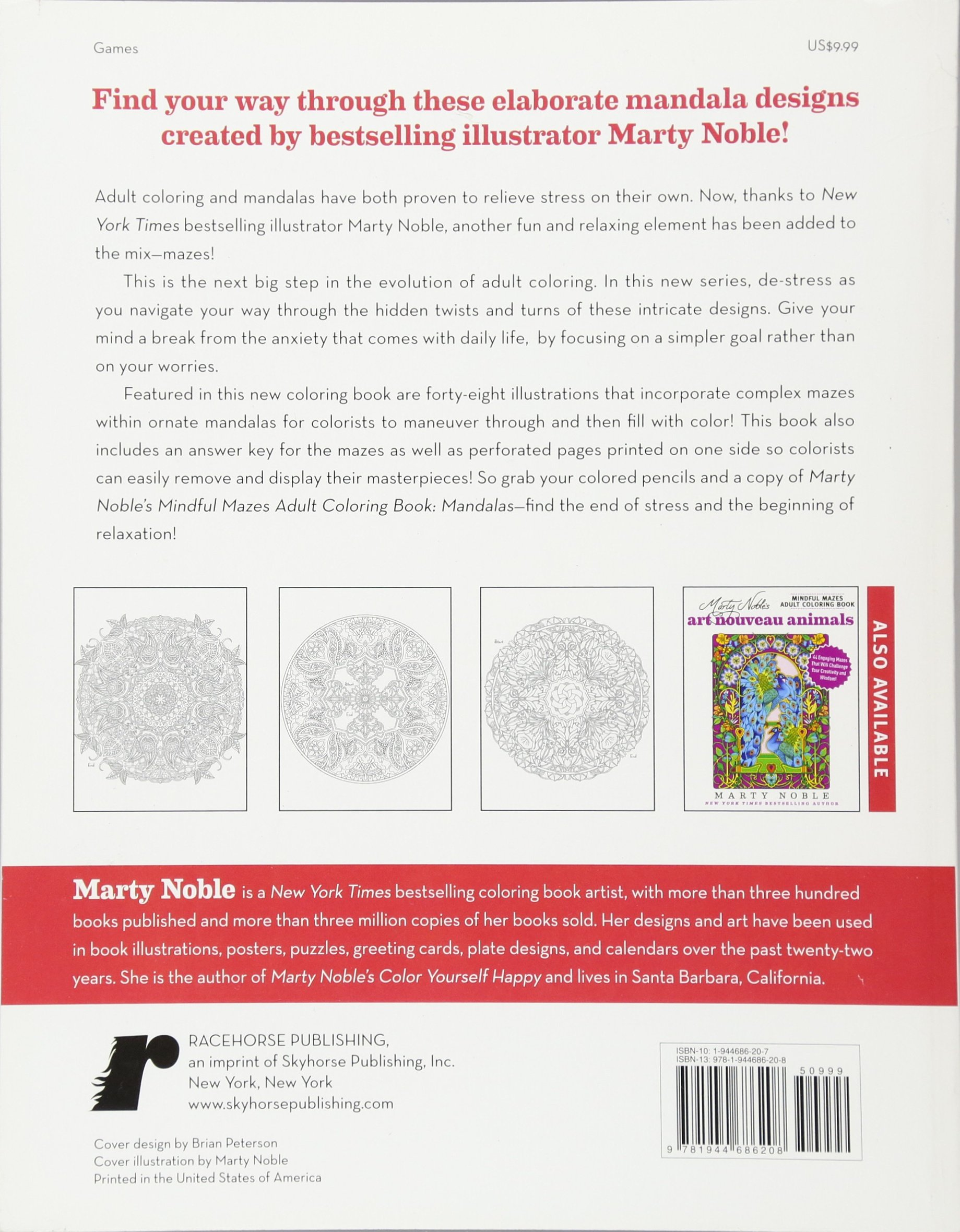 marty nobles mindful mazes adult coloring book mandalas 48 engaging mazes that will challenge your creativity and wisdom