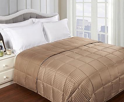 Superior Reversible Down Comforter - Striped Alternative Down Comforter, All Season Blanket, Soft Shell, Taupe, King Size