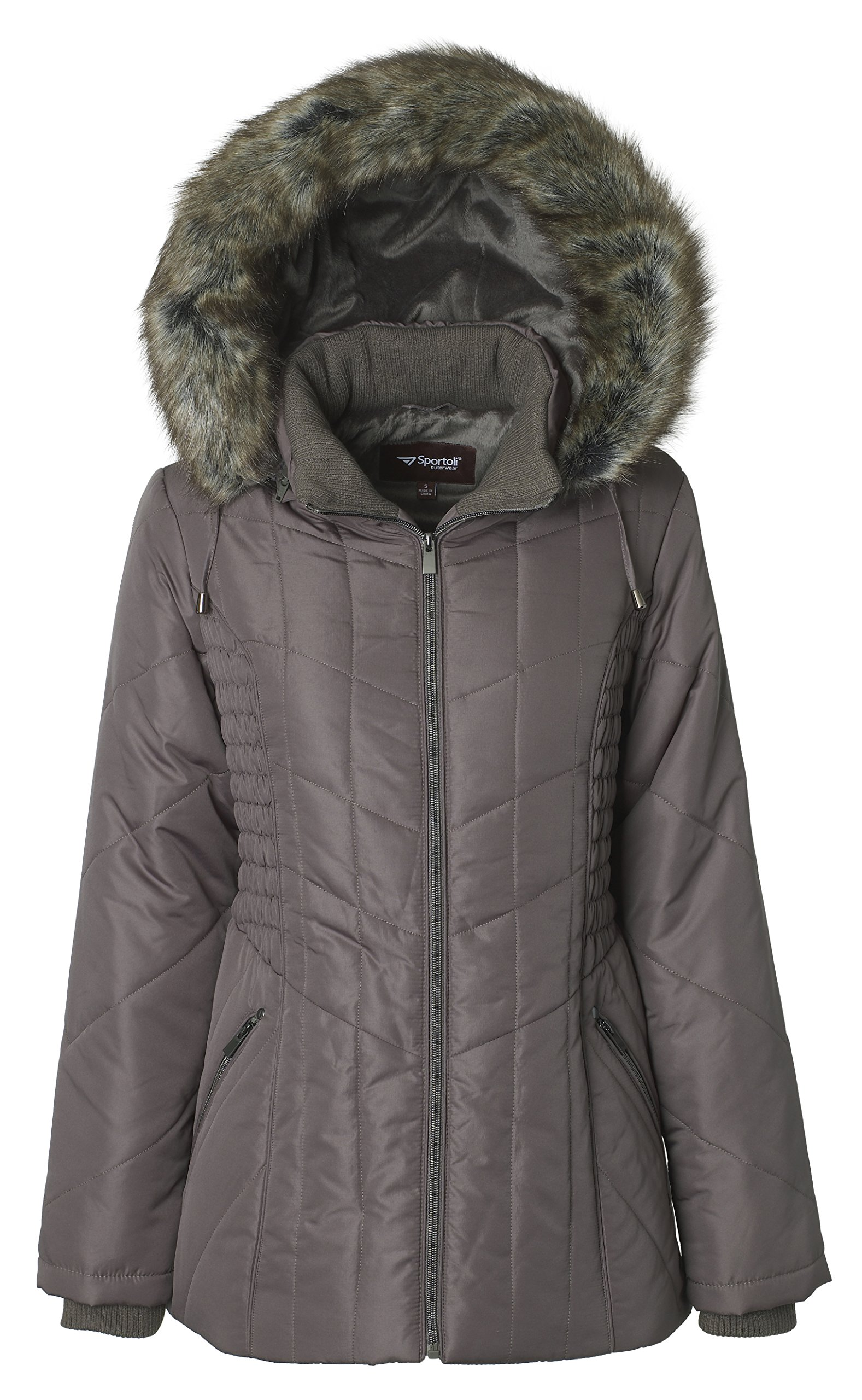 Sportoli Women's Midlength Ruched Detail Plush Lined Puffer Coat with Zip-Off Detacheable Fur Trim Hood - Fog with Polished GunMetal (2X) by Sportoli (Image #1)