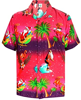 "8f359a1c LA LEELA Christmas Santa Polyester Party Shirt Pink 708 Small|Chest  38"" - 40"""