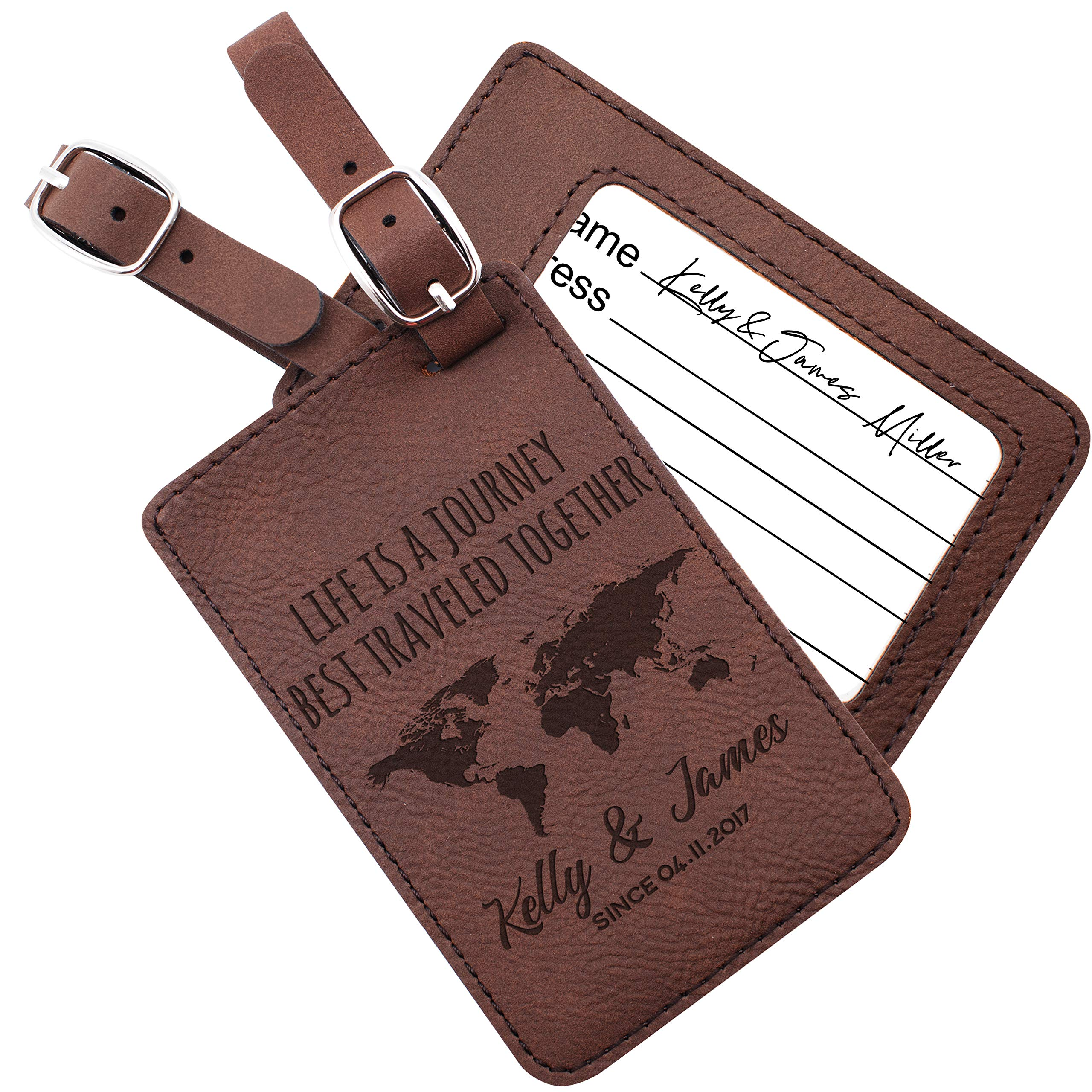 Luggage Tags Personalized Name Custom Cruise Tags For Women Men Kids Families | 6 Different Color Monogram Luggage Name Tags Christmas Gifts For Travelers Leatherette Suitcase Tag Travel Bag Label #9