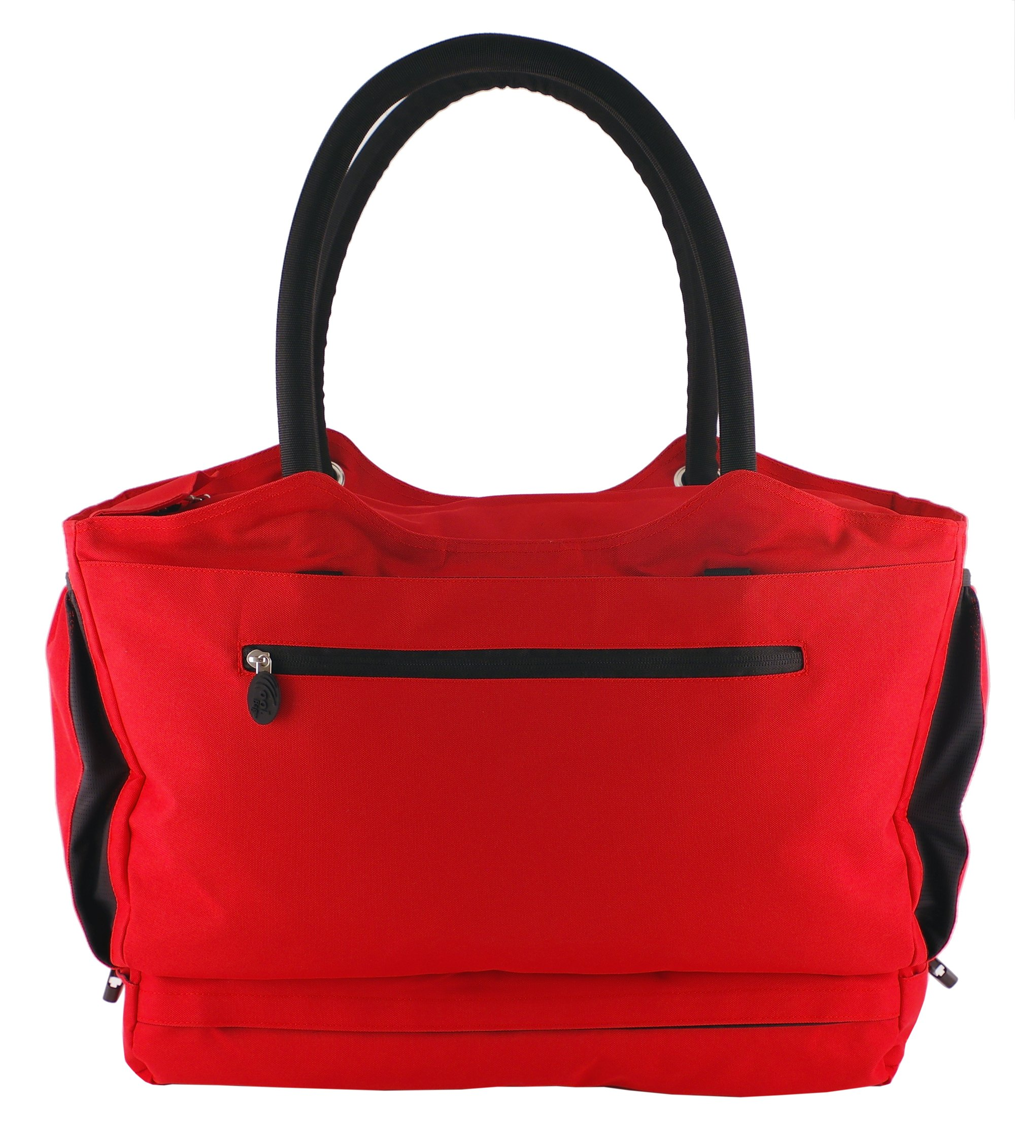 CoolBag Gen 2 Locking Anti-Theft Travel Tote With Insulated Cooler Compartment - (Riviera Red) by CoolBag