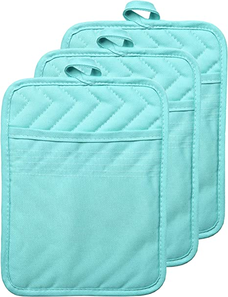VEIKERY Oven Pot Holder with Pocket 100/% Cotton Heat Resistant Coaster Potholder Kitchen Hot Pad Oven Mitts for Cooking and Baking Square 7x9 Aqua, 3
