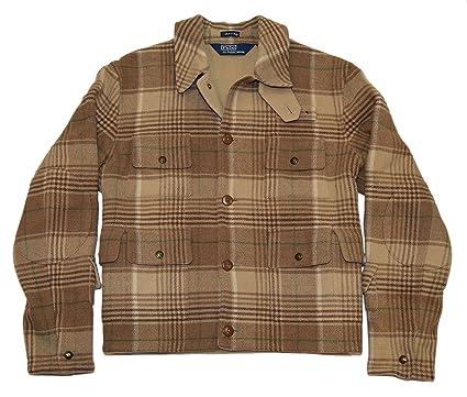Polo Ralph Lauren Mens Wool Jacket Coat Plaid Italy Beige Brown Camel Green  Large