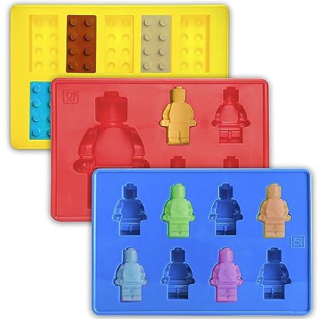 Juego de 3 moldes de silicona para niños para hacer cubitos de hielo, gelatina, ...