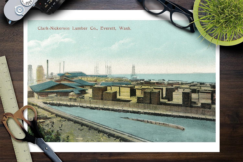 Amazon.com: Everett, Washington   Aerial View Of Clark Nickerson Lumber Co  (9x12 Art Print, Wall Decor Travel Poster): Posters U0026 Prints